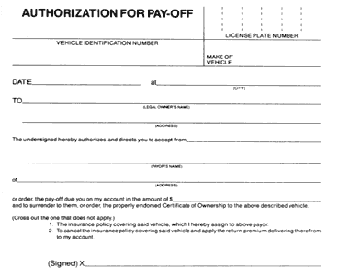 AUTHORIZATION FOR PAYOFF