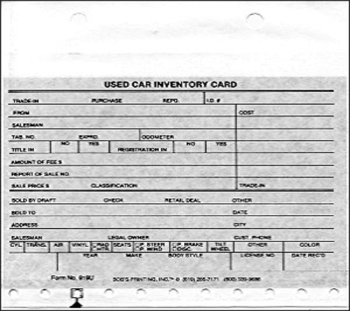 USED CAR INVENTORY CARDS