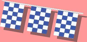 8 mil Checkered Pennants Blue