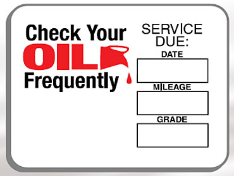 Oil Change Reminder Sticker