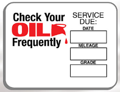 Imprinted Oil Change Reminder Sticker